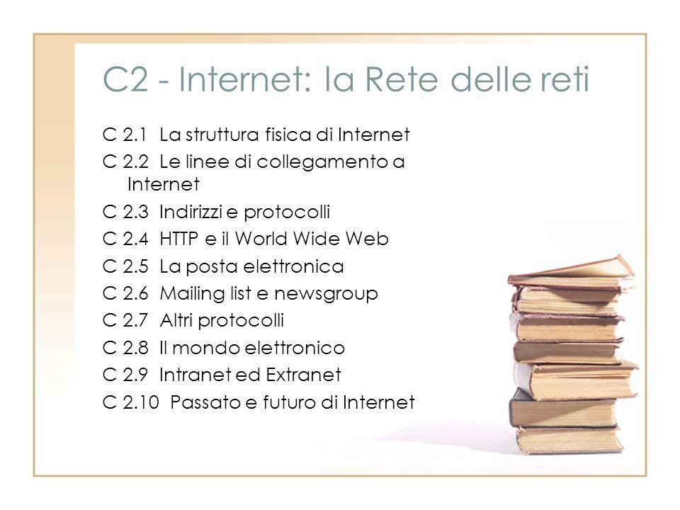 C2 - Internet: la Rete delle reti C 2.1 La struttura fisica di Internet C 2.2 Le linee di collegamento a Internet C 2.3 Indirizzi e protocolli C 2.4 H
