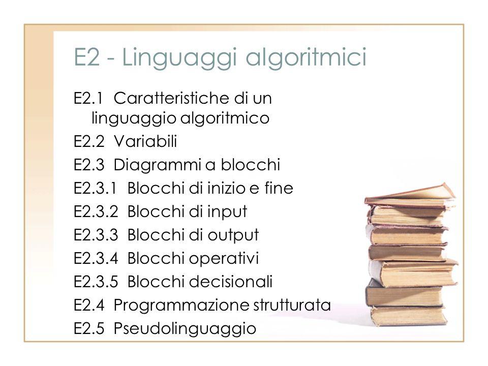 E2 - Linguaggi algoritmici E2.1 Caratteristiche di un linguaggio algoritmico E2.2 Variabili E2.3 Diagrammi a blocchi E2.3.1 Blocchi di inizio e fine E