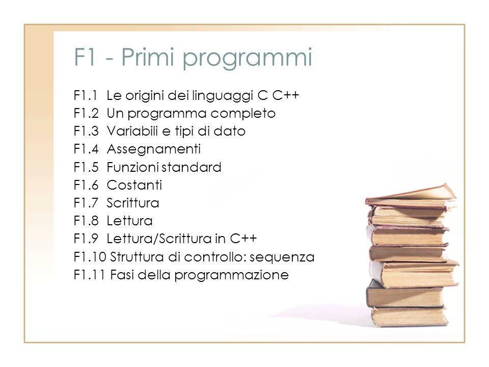 F1 - Primi programmi F1.1 Le origini dei linguaggi C C++ F1.2 Un programma completo F1.3 Variabili e tipi di dato F1.4 Assegnamenti F1.5 Funzioni stan