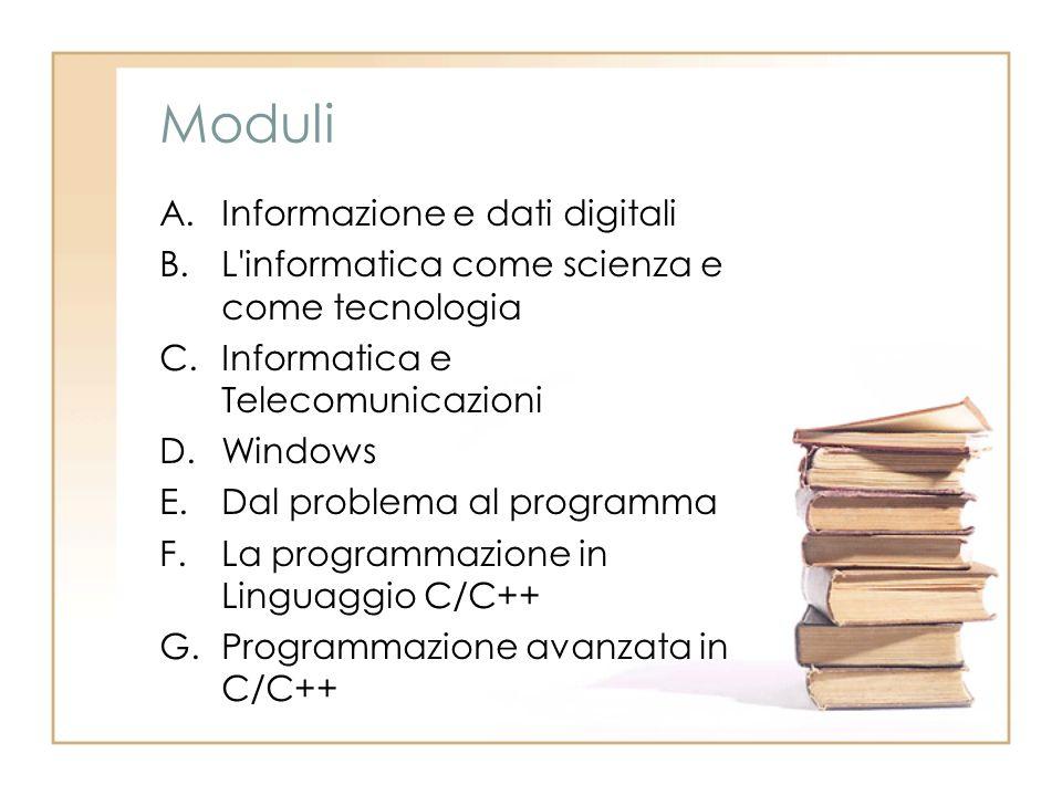 Moduli A.Informazione e dati digitali B.L'informatica come scienza e come tecnologia C.Informatica e Telecomunicazioni D.Windows E.Dal problema al pro