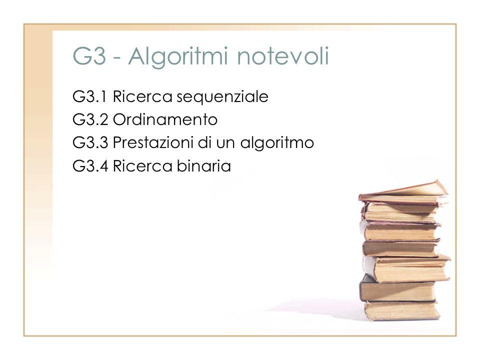 G3 - Algoritmi notevoli G3.1 Ricerca sequenziale G3.2 Ordinamento G3.3 Prestazioni di un algoritmo G3.4 Ricerca binaria