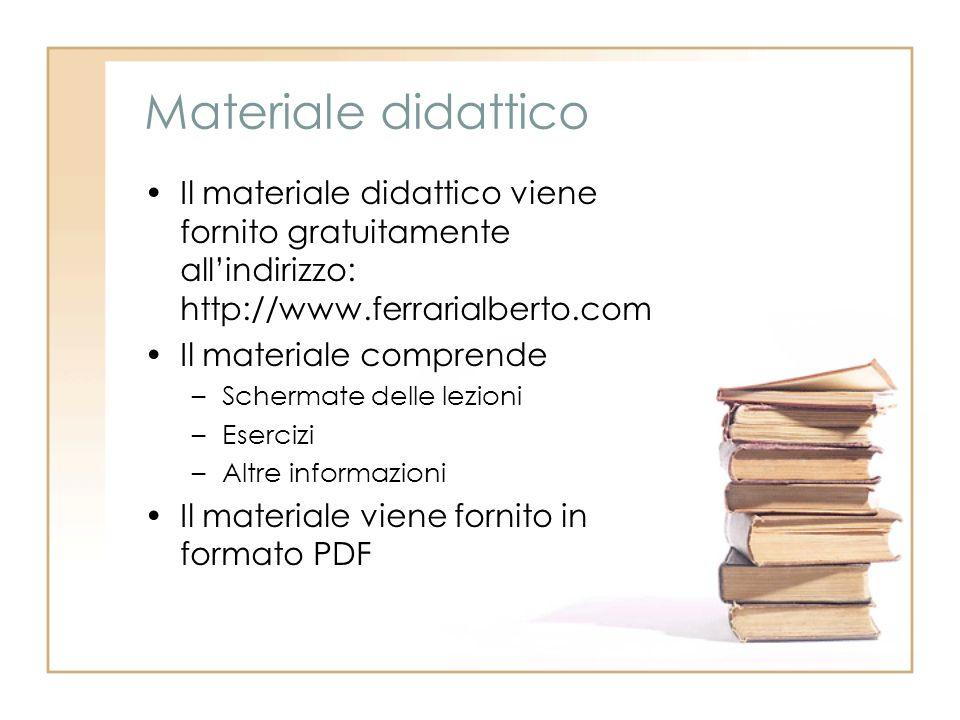 Materiale didattico Il materiale didattico viene fornito gratuitamente allindirizzo: http://www.ferrarialberto.com Il materiale comprende –Schermate d