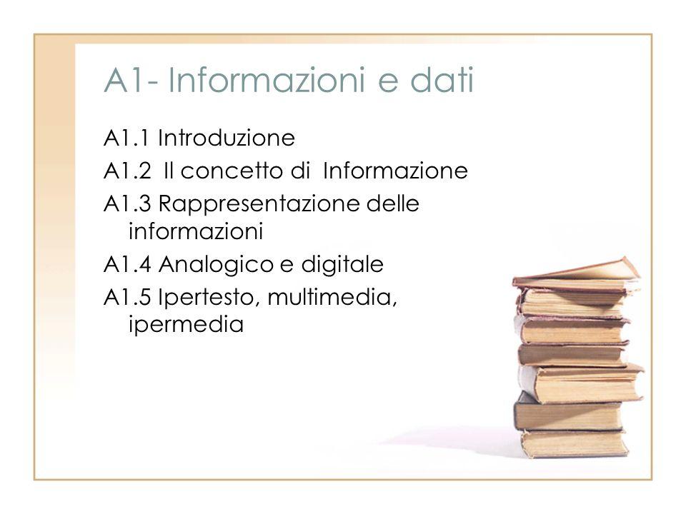 A1- Informazioni e dati A1.1 Introduzione A1.2 Il concetto di Informazione A1.3 Rappresentazione delle informazioni A1.4 Analogico e digitale A1.5 Ipe