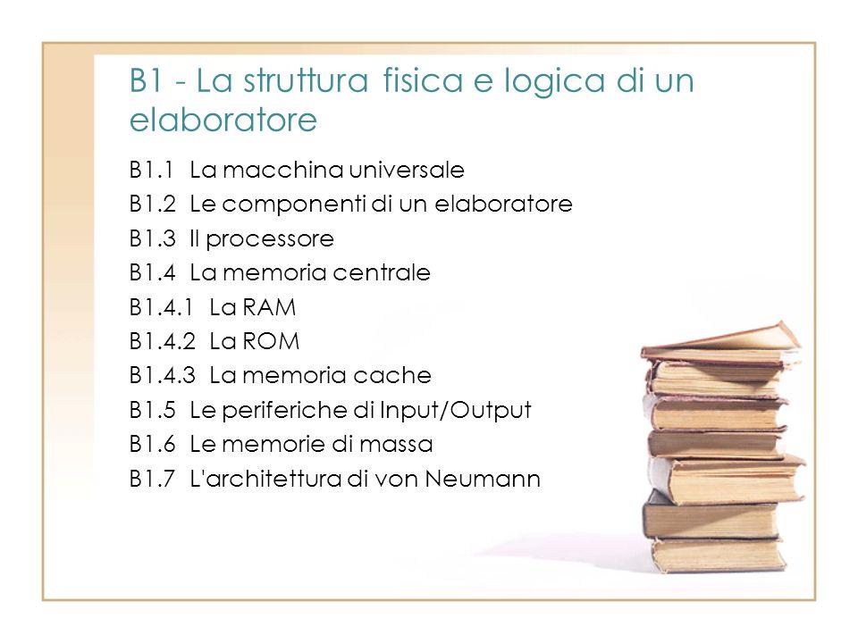 B1.1 La macchina universale B1.2 Le componenti di un elaboratore B1.3 Il processore B1.4 La memoria centrale B1.4.1 La RAM B1.4.2 La ROM B1.4.3 La mem
