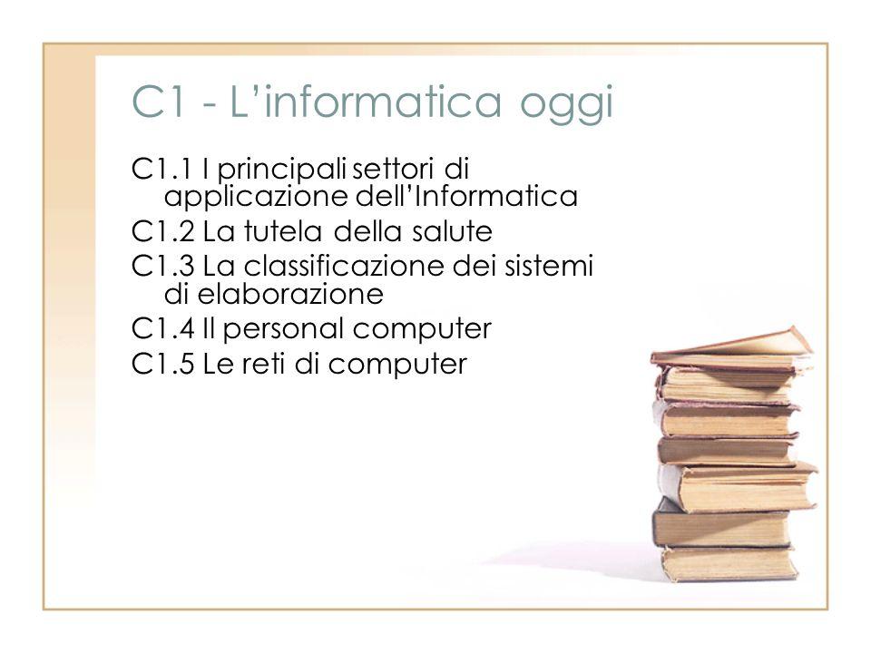 C1 - Linformatica oggi C1.1 I principali settori di applicazione dellInformatica C1.2 La tutela della salute C1.3 La classificazione dei sistemi di el