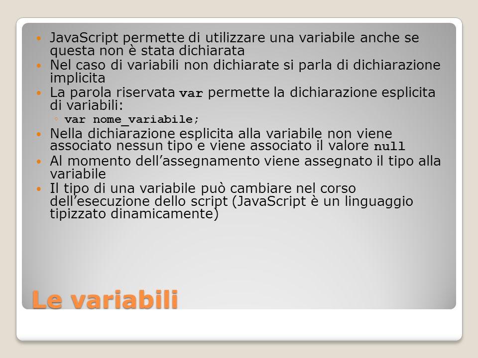 Le variabili JavaScript permette di utilizzare una variabile anche se questa non è stata dichiarata Nel caso di variabili non dichiarate si parla di d