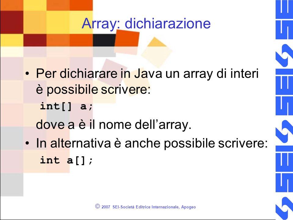 © 2007 SEI-Società Editrice Internazionale, Apogeo Array: dichiarazione Per dichiarare in Java un array di interi è possibile scrivere: int[] a; dove