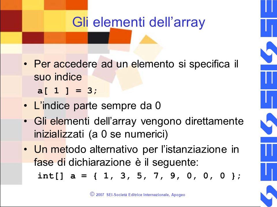 © 2007 SEI-Società Editrice Internazionale, Apogeo Gli elementi dellarray Per accedere ad un elemento si specifica il suo indice a[ 1 ] = 3; Lindice p