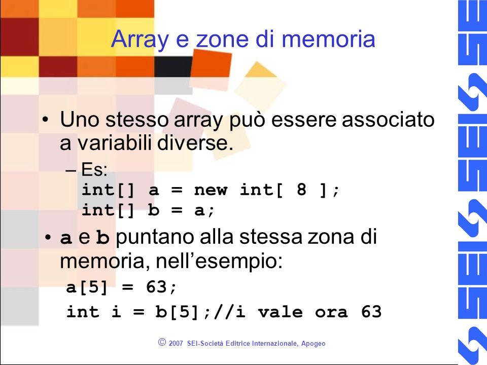 © 2007 SEI-Società Editrice Internazionale, Apogeo Array e zone di memoria Uno stesso array può essere associato a variabili diverse. –Es: int[] a = n