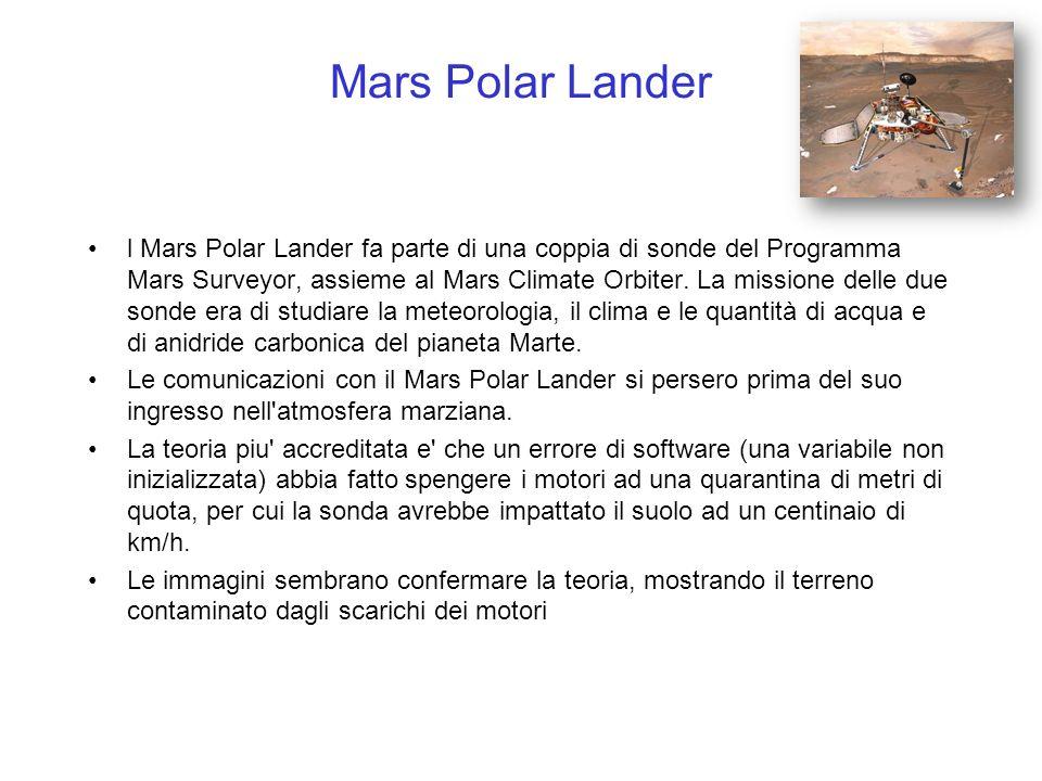 Mars Polar Lander l Mars Polar Lander fa parte di una coppia di sonde del Programma Mars Surveyor, assieme al Mars Climate Orbiter. La missione delle