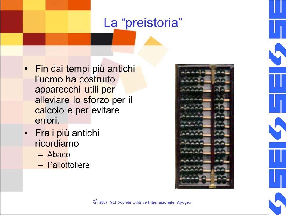 © 2007 SEI-Società Editrice Internazionale, Apogeo La preistoria Fin dai tempi più antichi luomo ha costruito apparecchi utili per alleviare lo sforzo