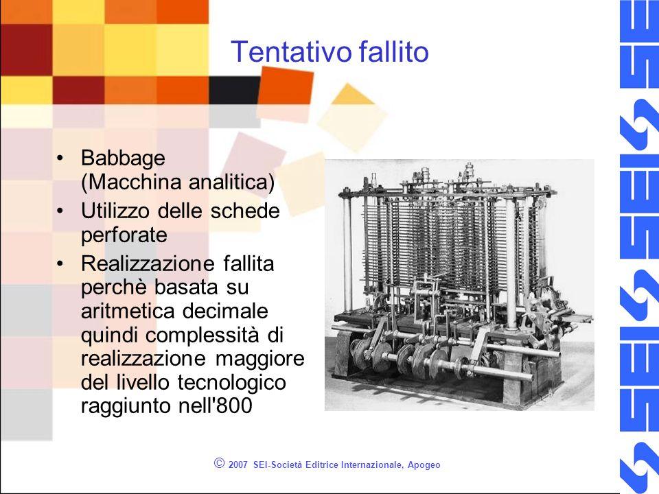 © 2007 SEI-Società Editrice Internazionale, Apogeo Tentativo fallito Babbage (Macchina analitica) Utilizzo delle schede perforate Realizzazione fallit