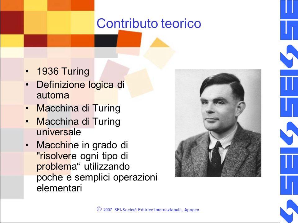 © 2007 SEI-Società Editrice Internazionale, Apogeo Contributo teorico 1936 Turing Definizione logica di automa Macchina di Turing Macchina di Turing u