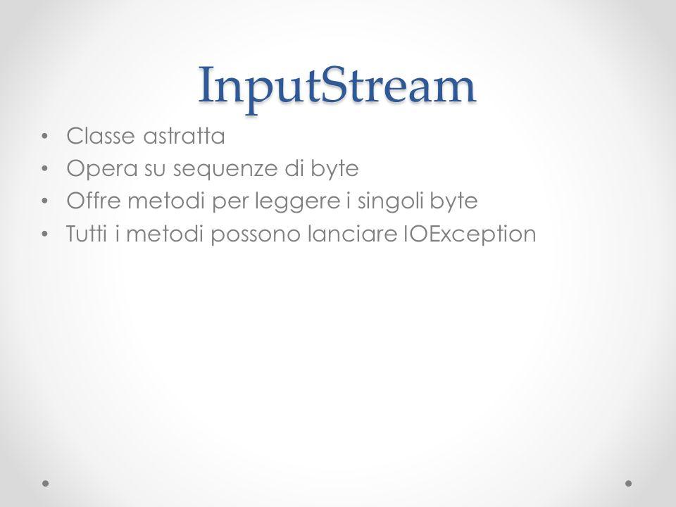 InputStream Classe astratta Opera su sequenze di byte Offre metodi per leggere i singoli byte Tutti i metodi possono lanciare IOException