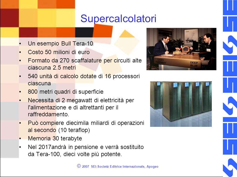 Supercalcolatori Un esempio Bull Tera-10 Costo 50 milioni di euro Formato da 270 scaffalature per circuiti alte ciascuna 2.5 metri 540 unità di calcolo dotate di 16 processori ciascuna 800 metri quadri di superficie Necessita di 2 megawatt di elettricità per l alimentazione e di altrettanti per il raffreddamento.