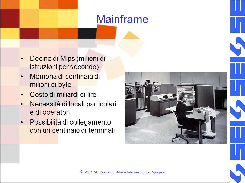 Mainframe Decine di Mips (milioni di istruzioni per secondo) Memoria di centinaia di milioni di byte Costo di miliardi di lire Necessità di locali particolari e di operatori Possibilità di collegamento con un centinaio di terminali © 2007 SEI-Società Editrice Internazionale, Apogeo