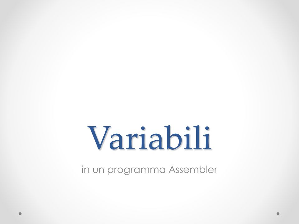 Variabili in un programma Assembler