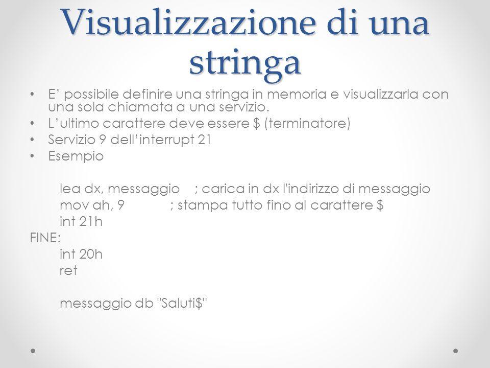 Visualizzazione di una stringa E possibile definire una stringa in memoria e visualizzarla con una sola chiamata a una servizio. Lultimo carattere dev