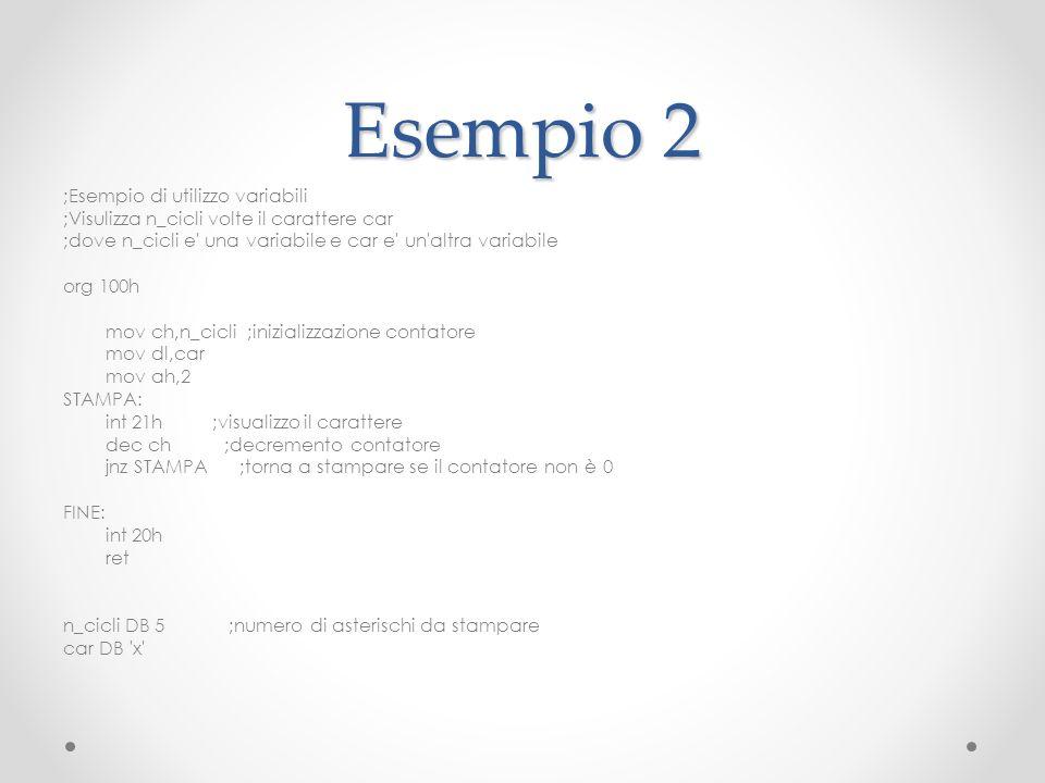 Esempio 2 ;Esempio di utilizzo variabili ;Visulizza n_cicli volte il carattere car ;dove n_cicli e' una variabile e car e' un'altra variabile org 100h