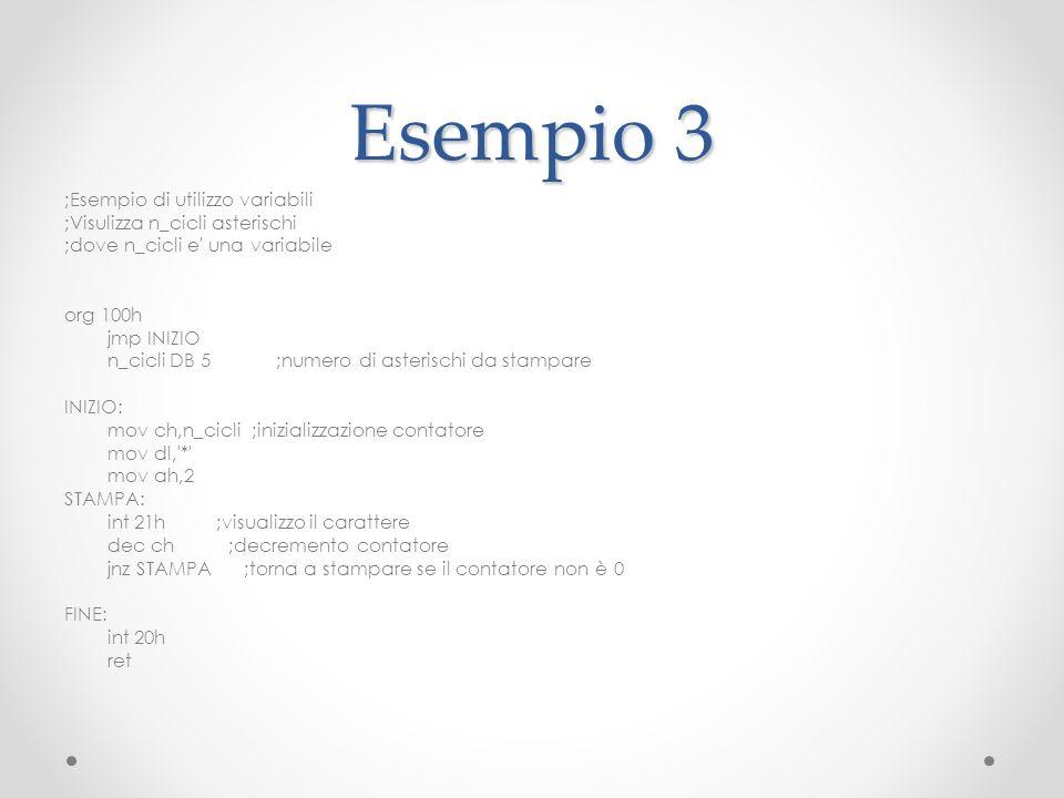 Esempio 3 ;Esempio di utilizzo variabili ;Visulizza n_cicli asterischi ;dove n_cicli e' una variabile org 100h jmp INIZIO n_cicli DB 5 ;numero di aste