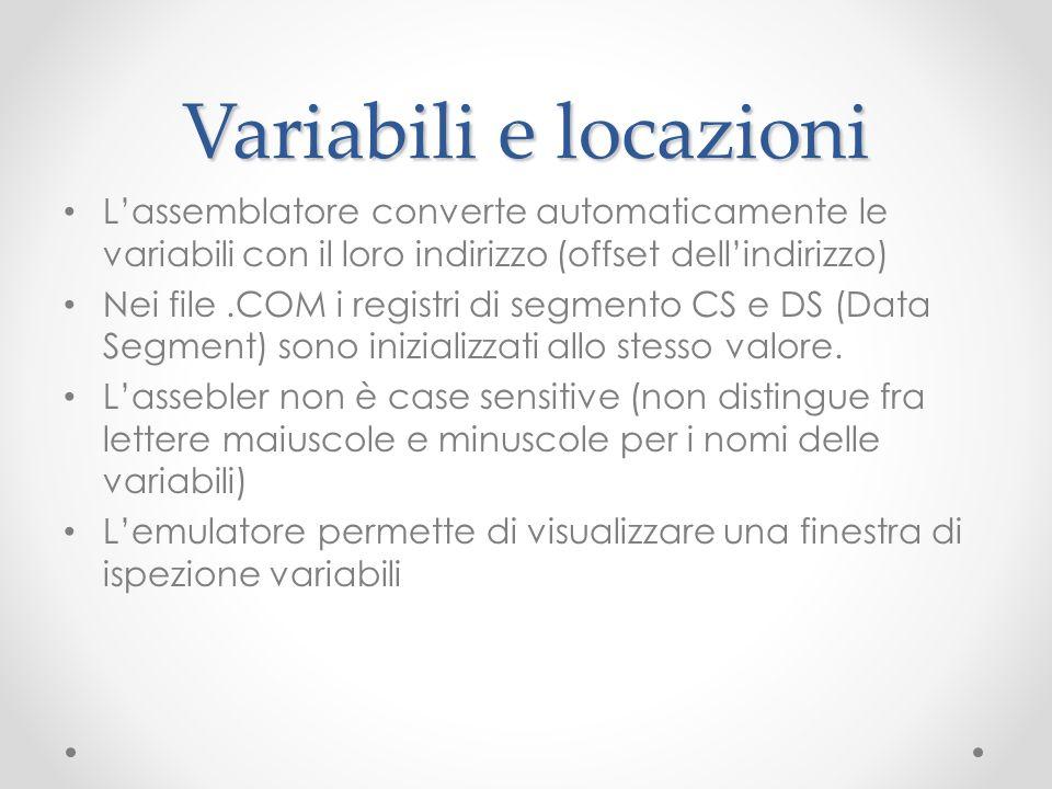 Variabili e locazioni Lassemblatore converte automaticamente le variabili con il loro indirizzo (offset dellindirizzo) Nei file.COM i registri di segm