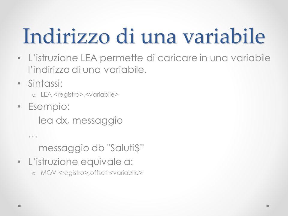 Indirizzo di una variabile Listruzione LEA permette di caricare in una variabile lindirizzo di una variabile. Sintassi: o LEA, Esempio: lea dx, messag