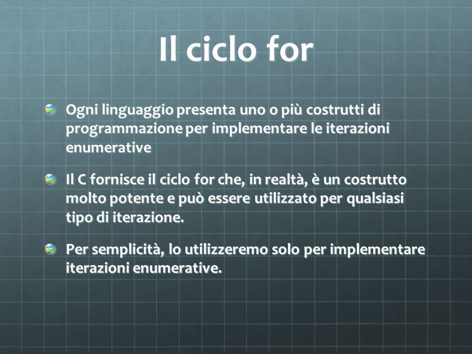 Il ciclo for Ogni linguaggio presenta uno o più costrutti di programmazione per implementare le iterazioni enumerative Il C fornisce il ciclo for che,