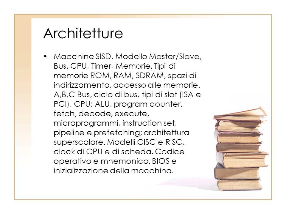 Architetture Macchine SISD. Modello Master/Slave, Bus, CPU, Timer, Memorie, Tipi di memorie ROM, RAM, SDRAM, spazi di indirizzamento, accesso alle mem