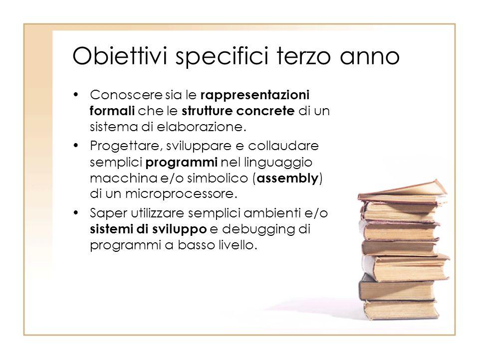 Obiettivi specifici terzo anno Conoscere sia le rappresentazioni formali che le strutture concrete di un sistema di elaborazione. Progettare, sviluppa