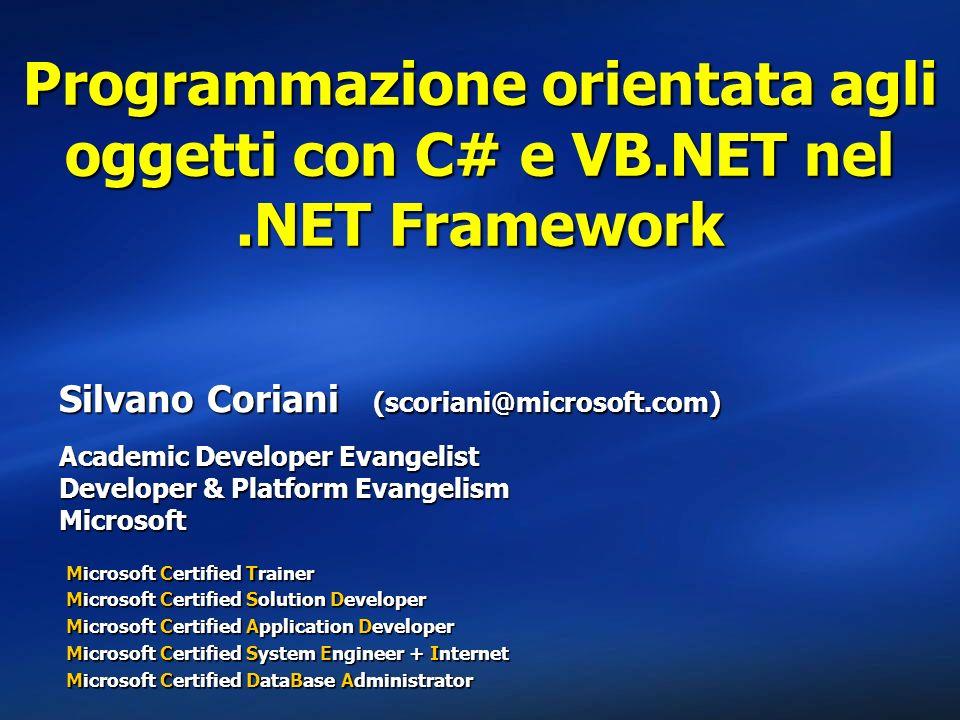 Agenda I concetti fondamentaliI concetti fondamentali EreditarietàEreditarietà PolimorfismoPolimorfismo IncapsulamentoIncapsulamento AggregazioneAggregazione Limplementazione nel.NET FrameworkLimplementazione nel.NET Framework Classi base e derivateClassi base e derivate I metodi virtualiI metodi virtuali Classi astratte e interfacceClassi astratte e interfacce Le keyword di C# e VB.NETLe keyword di C# e VB.NET