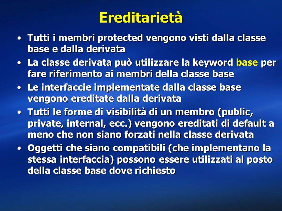 Ereditarietà Tutti i membri protected vengono visti dalla classe base e dalla derivataTutti i membri protected vengono visti dalla classe base e dalla