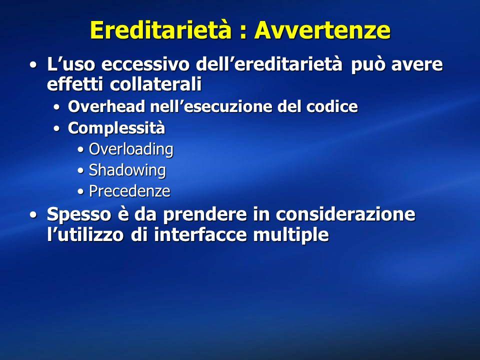 Ereditarietà : Avvertenze Luso eccessivo dellereditarietà può avere effetti collateraliLuso eccessivo dellereditarietà può avere effetti collaterali O
