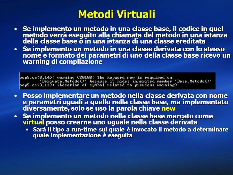 Metodi Virtuali Se implemento un metodo in una classe base, il codice in quel metodo verrà eseguito alla chiamata del metodo in una istanza della clas
