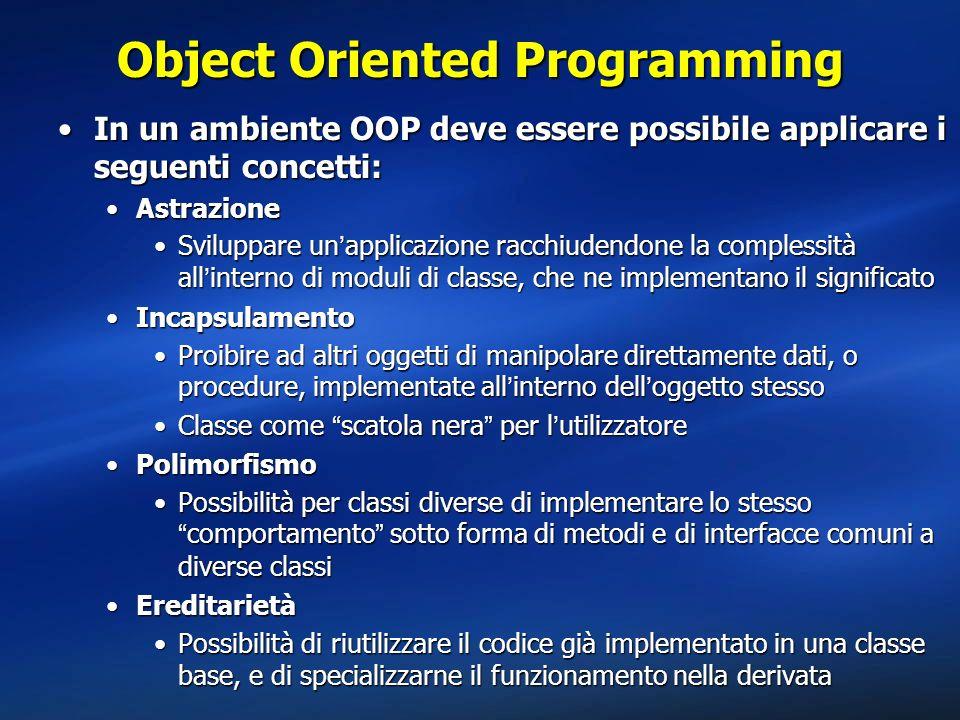 Polimorfismo public class MyApp { public static void Main() { Visa myVisa = new Visa(); AmEx myAmEx = new AmEx(); DoPayment(myVisa); DoPayment(myAmEx); } public bool DoPayment(CreditCard mycard) { // scrivo un metodo assolutamente generico… if (mycard.Authorize()) { // Payment ok }