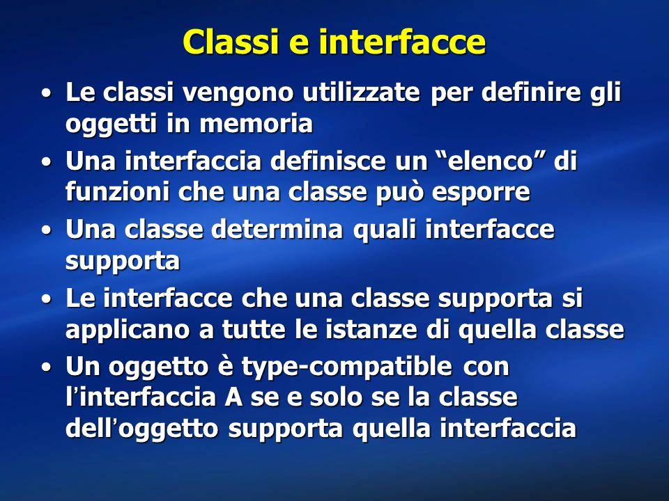 Classi e interfacce Le classi vengono utilizzate per definire gli oggetti in memoriaLe classi vengono utilizzate per definire gli oggetti in memoria U