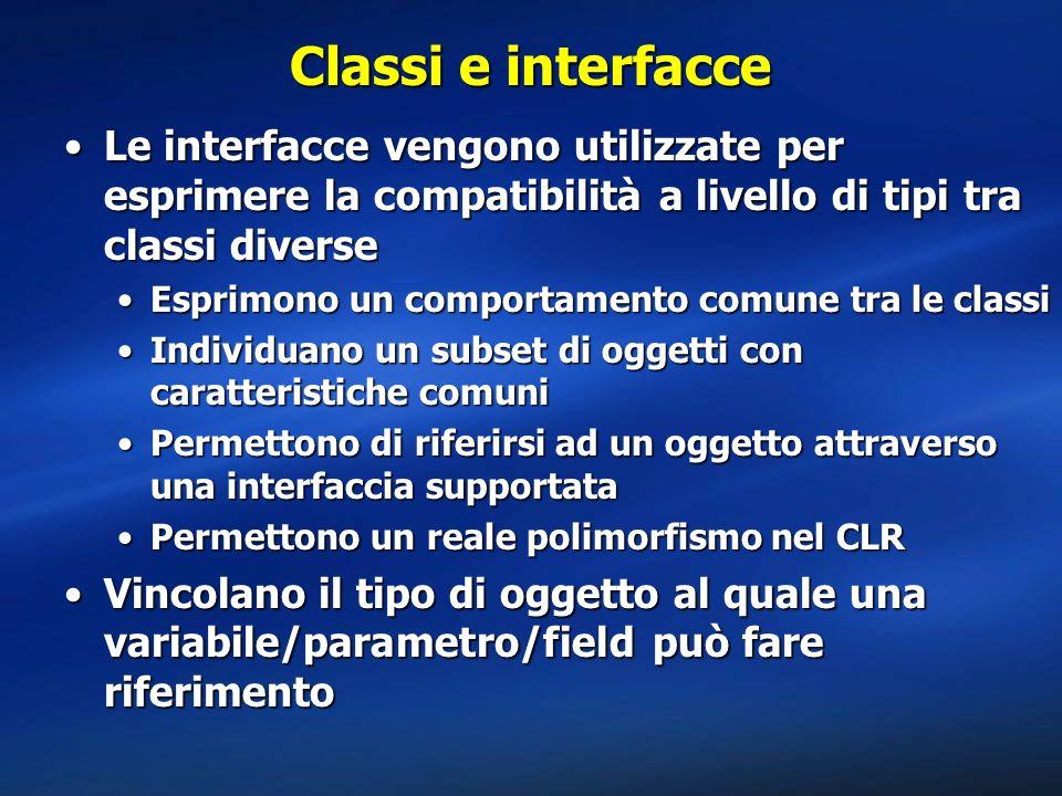 Classi e interfacce Le interfacce vengono utilizzate per esprimere la compatibilità a livello di tipi tra classi diverseLe interfacce vengono utilizza