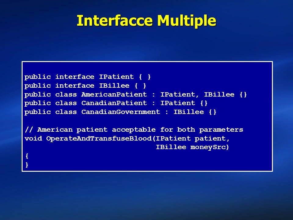 public interface IPatient { } public interface IBillee { } public class AmericanPatient : IPatient, IBillee {} public class CanadianPatient : IPatient