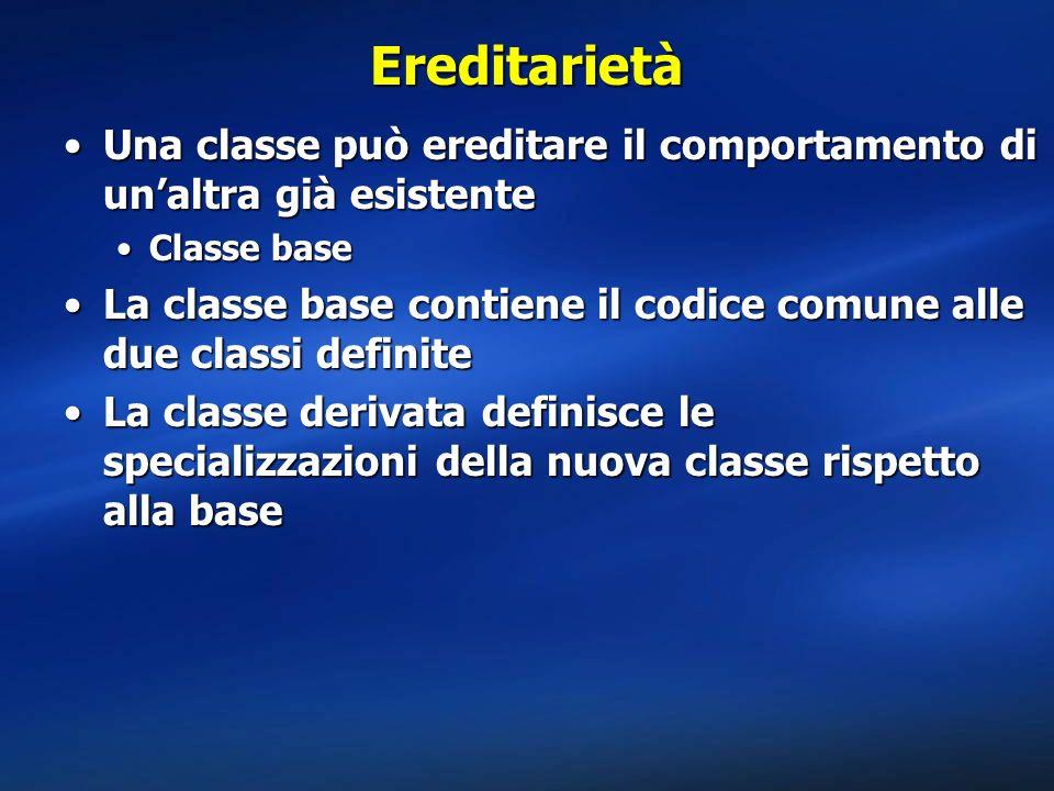 Metodi virtuali using System; public class CreditCard { public CreditCard() {Console.WriteLine( CreditCard:.ctor() );} public bool Pay() {Console.WriteLine( CreditCard:Pay() );return true;} public virtual bool Authorize() {Console.WriteLine( CreditCard:Authorize() );return true;} } public class Visa : CreditCard { public Visa() {Console.WriteLine( Visa:.ctor() );} public override bool Authorize() {Console.WriteLine( Visa:Authorize() );return true;} } public class AmEx : CreditCard { public AmEx() {Console.WriteLine( Visa:.ctor() );} public override bool Authorize() {Console.WriteLine( AmEx:Authorize() );return true;} } public class MyApp { public static void Main() { Visa vi = new Visa(); CreditCard cc = new CreditCard(); CreditCard vcc; vcc = (CreditCard) vi; cc.Authorize(); vcc.Authorize(); vi.Authorize(); cc.Pay(); vi.Pay(); }}