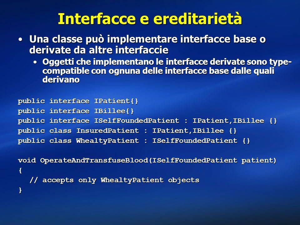 Interfacce e ereditarietà Una classe può implementare interfacce base o derivate da altre interfaccieUna classe può implementare interfacce base o der