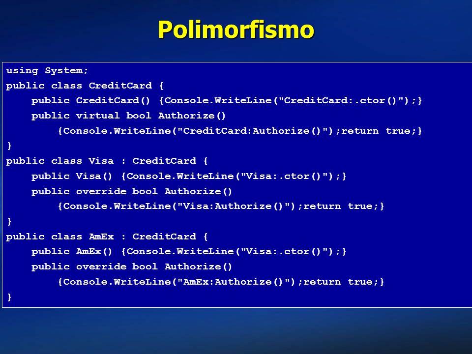 Polimorfismo using System; public class CreditCard { public CreditCard() {Console.WriteLine(