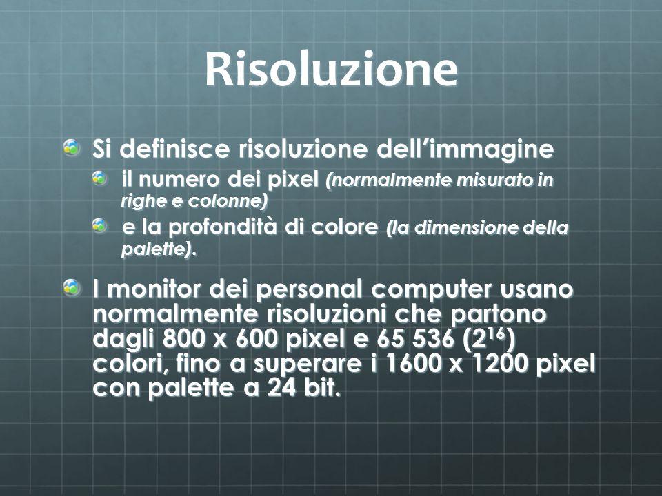 Risoluzione Si definisce risoluzione dell immagine il numero dei pixel (normalmente misurato in righe e colonne) e la profondità di colore (la dimensi