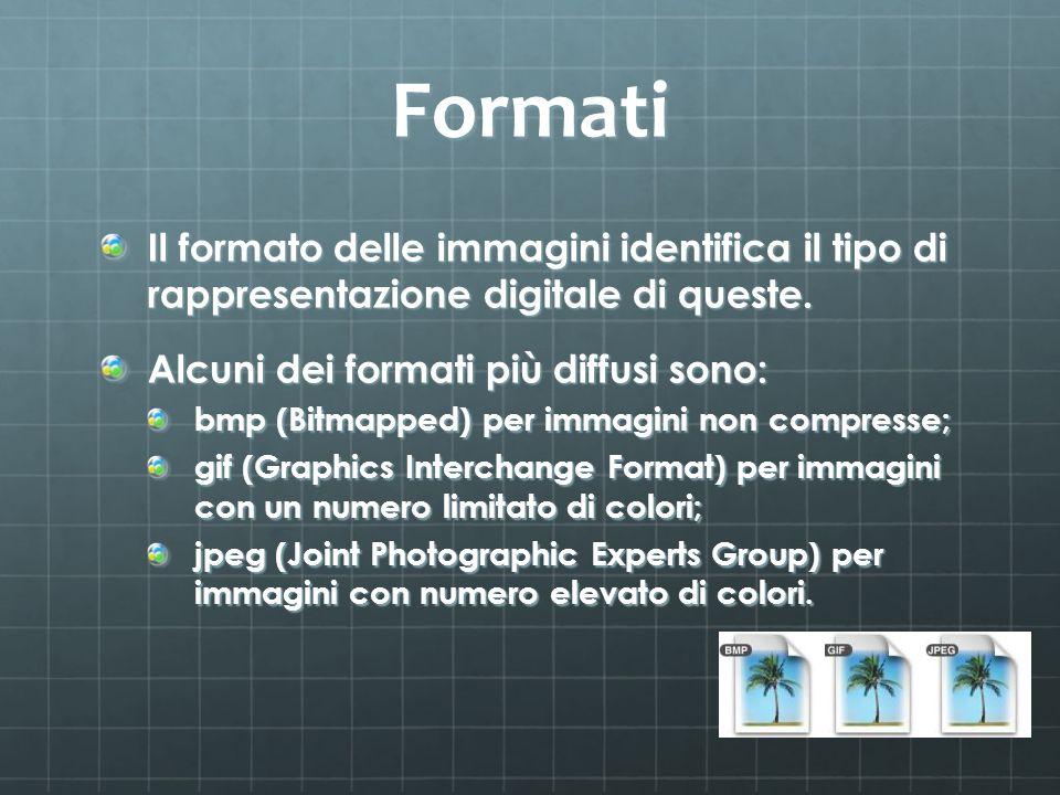 Formati Il formato delle immagini identifica il tipo di rappresentazione digitale di queste. Alcuni dei formati più diffusi sono: bmp (Bitmapped) per