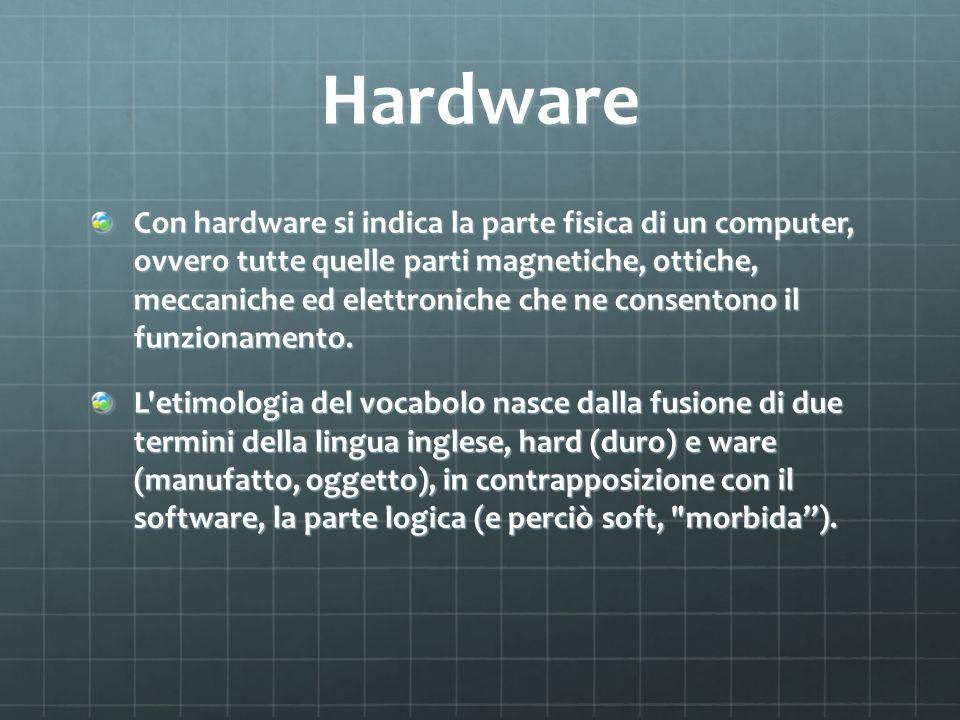 Hardware Con hardware si indica la parte fisica di un computer, ovvero tutte quelle parti magnetiche, ottiche, meccaniche ed elettroniche che ne conse
