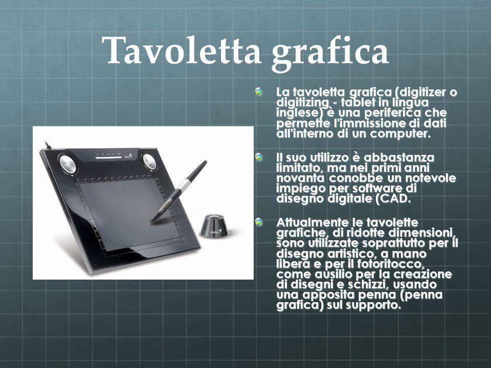 Tavoletta grafica La tavoletta grafica (digitizer o digitizing - tablet in lingua inglese) è una periferica che permette l'immissione di dati all'inte