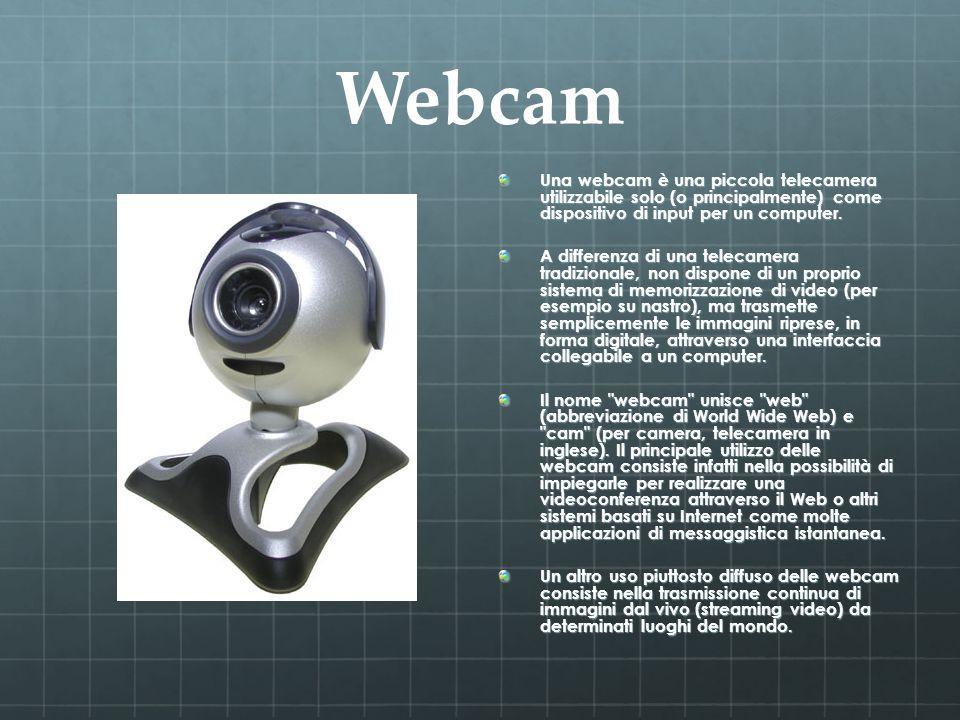 Webcam Una webcam è una piccola telecamera utilizzabile solo (o principalmente) come dispositivo di input per un computer. A differenza di una telecam