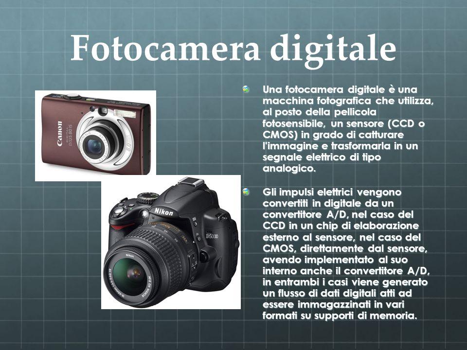 Fotocamera digitale Una fotocamera digitale è una macchina fotografica che utilizza, al posto della pellicola fotosensibile, un sensore (CCD o CMOS) i