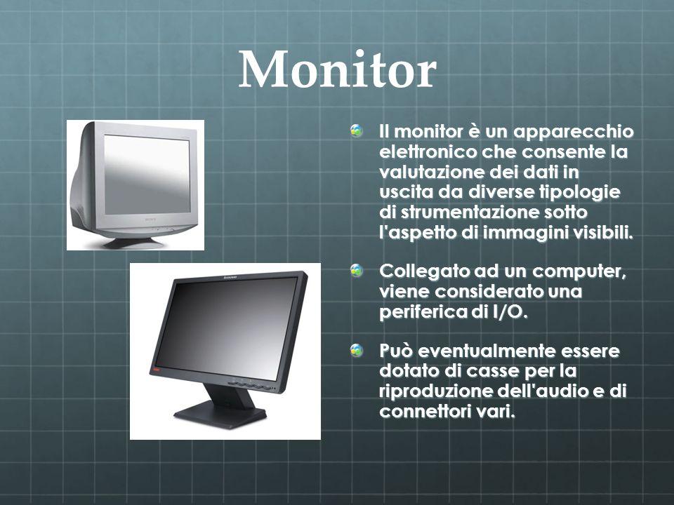 Monitor Il monitor è un apparecchio elettronico che consente la valutazione dei dati in uscita da diverse tipologie di strumentazione sotto l'aspetto