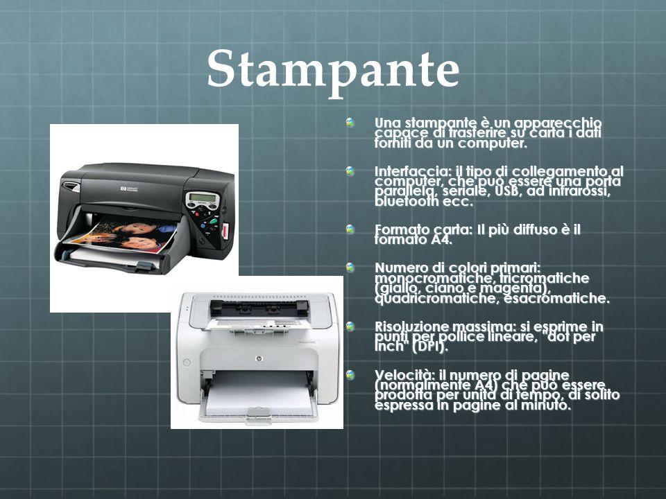 Stampante Una stampante è un apparecchio capace di trasferire su carta i dati forniti da un computer. Interfaccia: il tipo di collegamento al computer