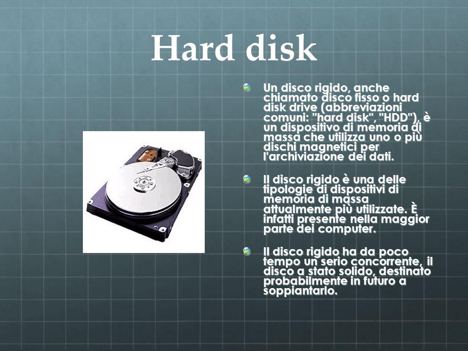 Hard disk Un disco rigido, anche chiamato disco fisso o hard disk drive (abbreviazioni comuni: