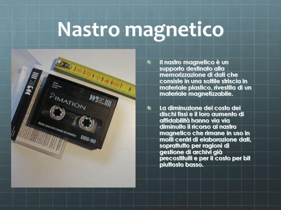 Nastro magnetico Il nastro magnetico è un supporto destinato alla memorizzazione di dati che consiste in una sottile striscia in materiale plastico, r